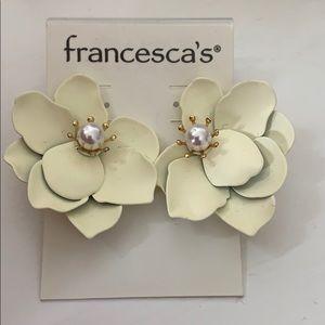 Francesca's Off-White Flower Earrings